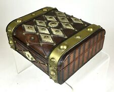 Antique English Men's Leather Mother of Pearl Brass Fitted Jewelry Box Rare