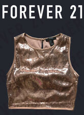 Womens Juniors Forever 21 Rose Gold Sequin Crop Tank Top Size Large