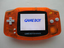 backlit ags101 nintendo game boy advance system clear orange modded brighter lcd