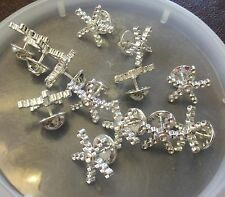 Star Burst Tac Pin Findings Lot Nos Silver Plate Blank Stone Setting Snowflake