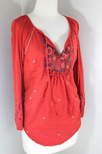 NINE WEST VINTAGE AMERICA Sz M Rust Orange Embroidered Boho Knit Top TM1-9