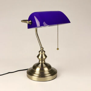 Classic Blue Banker Desk Lamp Pull Chain Switch Glass Table Light Satin Brass