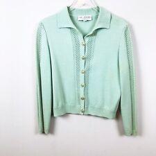 St. John Collection 6 Blue Green Cardigan Sweater Santana Knit Stretch Logo B64