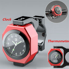 Aluminum Motorcycle Handlebar Clock Thermometer Analogue Dial Watch Night View