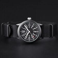 INFANTRY Herrenuhr Armbanduhr Analog Quarz Wasserdicht Sportlich Nylon Schwarz