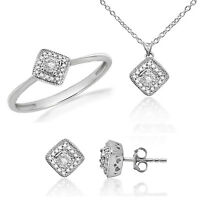 0.33 ct Round Real Diamond 925 Sterling Silver Ring Earrings Pendant set