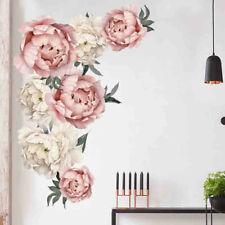 Pink Peony Rose Flowers Wall Sticker Art Nursery Decals Kids Room Home Decor