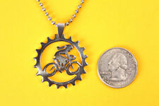 Female Bike / Chain Ring Pendant Stainless Steel Charm necklace FREE beadedchain