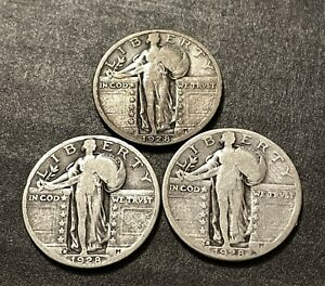 1928-PDS 25c Standing Liberty Quarter Set - Old US 90% Silver Lot Of (3)