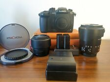 Panasonic LUMIX GH5 with Leica 12-60mm lens/50mm prime lens/ND filter and 3 bats
