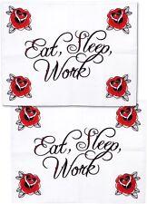 Tattoo Sourpuss Eat Sleep Work Pillow Cases Set Punk Bedding Rockabilly Roses