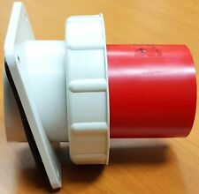 Lewden PM63/755  panel mounted angled appliance Inlet.  415V  63A  3P+E  IP67