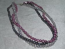 Estate Shades of Purple Faux Freshwater Pearl Bead Triplestrand Necklace w 925