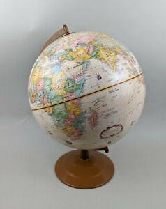 "Vintage Replogle 12"" Globemaster High Relief Russia Globe Metal Base Made in USA"