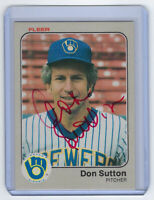 1983 BREWERS Don Sutton signed card Fleer #47 AUTO Autographed Milwaukee HOF (D)
