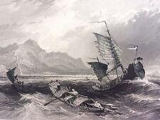 Antique Engraved Print CHINA / GREAT WALL of China Bohai Sea Chinese Junk 1842