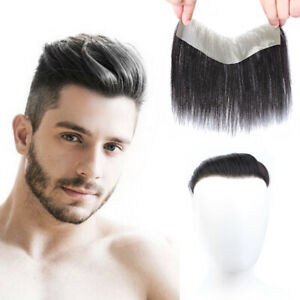 Men Straight Human Hair Frontal Mono Natural Hairline Hairpiece Cover Loss Hair