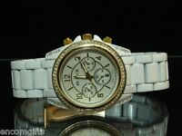 Womens CHRONOGRAPH STYLE WRISTWATCH White & Gold Watch w/ Rhinestones & Date