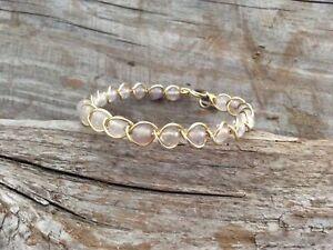 Dragon Veins Agate Gold Goddess Wire Wrapped Braided Bangle Bracelet Wrap Boho