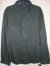 NEW Hawk Long Sleeve Button front Flannel shirt Green 2 Pocket XXL mens