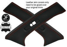 RED STITCH 2X REAR C PILLAR LEATHER COVERS FITS MERCEDES W202 C CLASS 93-00