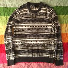 Forever 21 Gray White Stripe Print Pullover Sweater Cotton Wool Blend L