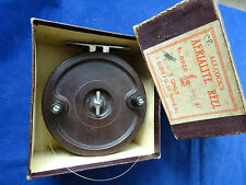 "A GOOD VINTAGE 3 3/4"" ALLCOCK'S AERIALITE CENTREPIN FISHING REEL + EARLY BOX"