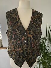 Ladies Orvis Tapestry Waistcoat Vintage, mythical unicorn and floral
