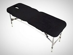 Black Massage Table Couch Cover Face Hole Elasticated Towelling 2x Tie Straps