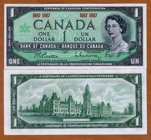 Canada, $1 1967, P-84a, QEII, UNC > Commemorative