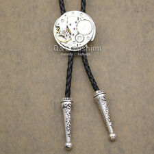Men Silver Watch Clock Movement Steampunk Western Necklace Bolo Bola Neck Tie W8