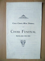 1920 Christ Church, West Didsbury Programme- CHOIR FESTIVAL, 25th July