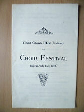 1920 Christ Church, West Didsbury Programme- CHOIR FESTIVAL, 25th July