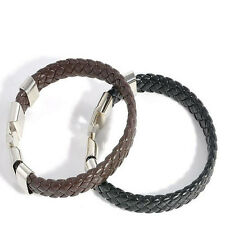 Stainless Steel Black Unique Jewelry Magnetic Clasp Bracelet Leather Bangles