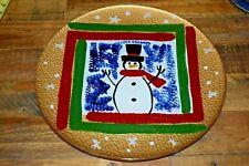 ROUND CHRISTMAS Snowman PLATTER Kosta Boda? Hand Painted