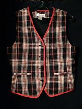 Womens Vintage Casual Corner Black White Red Plaid Linen Vest Waist Coat Size 10