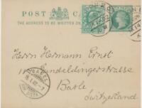 "GB 1902 mixed postage Queen Victoria/Edward VII ""LONDON-E.C / XW"" to BASLE"