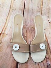 Tommy Hilfiger Womens Sandals Tan Nautical Striped Shoes Heels Size 8.5N New