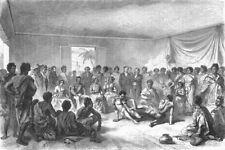 MADAGASCAR. Wrestling match before Ct of Tananarivo 1880 old antique print