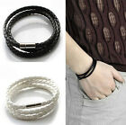 Men's Multilayer Soft Leather Strap Braided Cuff Bangle Wrist band Bracelet AU