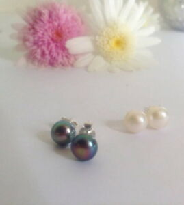 8mm black/white freshwater pearl solid 925 sterling silver studs rrp$29.95