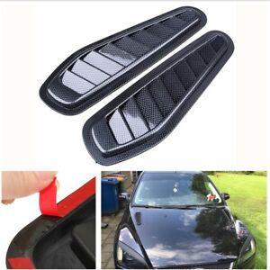 2x Carbon Fiber Look Car Air Flow Intake Turbo Bonnet Vent Hood Cover Decoration