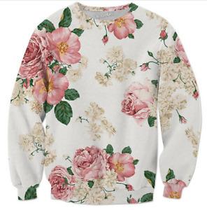 New Fashion Womens/Mens Floral 3D Print Casual Sweatshirt J097