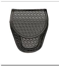 BIANCHI Model 7900 Covered Handcuff Case  BASKET WEAVE W/ CHROME CLOSURE 23099