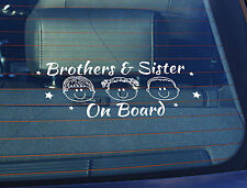 Static Cling Window Car Sign/Decal Brothers & Sister on Board 100 x 250mm