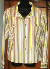Chico's Size 3 Multi-Color Striped Jacket Long Sleeve EUC Womens Large 16/18