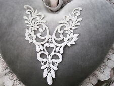 "Stunning Vintage Venise Lace  8"" Ivory metallic Motif Neck Applique yoke  #2453"