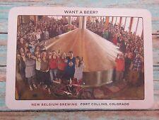 Beer Postcard Coaster <> NEW BELGIUM Brewing >< 500 Employee Owners ~*~ COLORADO