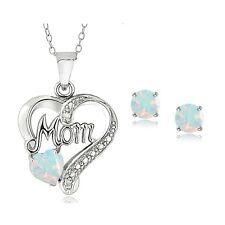 """925er Silber Erstellt Opal & Diamant Akzent Herz """"MOM"""""""