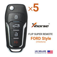5 Xhorse Universal Super Remote Flip Key Ford Style 4 Buttons Xefo01en